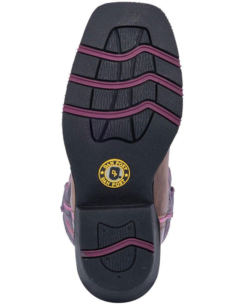 Dan Post Girls' Majesty Brown/Purple Western Boots - Square Toe, Brown, hi-res