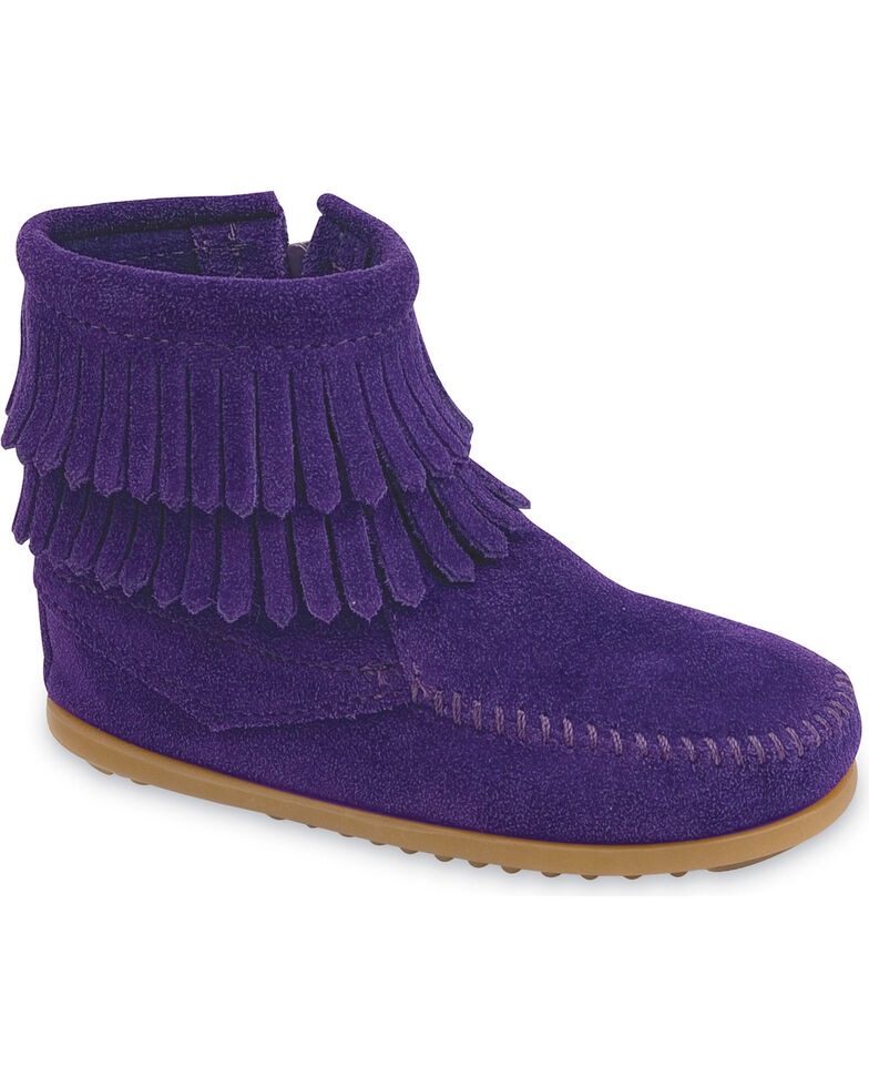 Minnetonka Infant Girls' Double Fringe Side Zip Moccasin Boots, Purple, hi-res