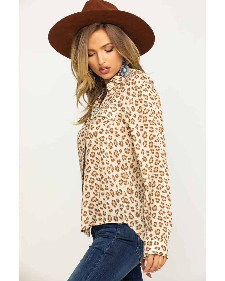 Stetson Women's Brown Leopard Print Button Down Top, Brown, hi-res