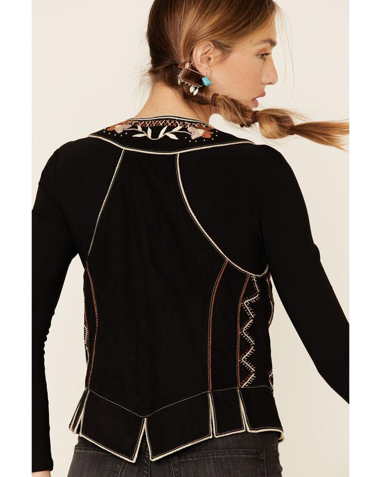 Double D Ranch Women's Black Lil Chiquita Bird Suede Vest , Black, hi-res