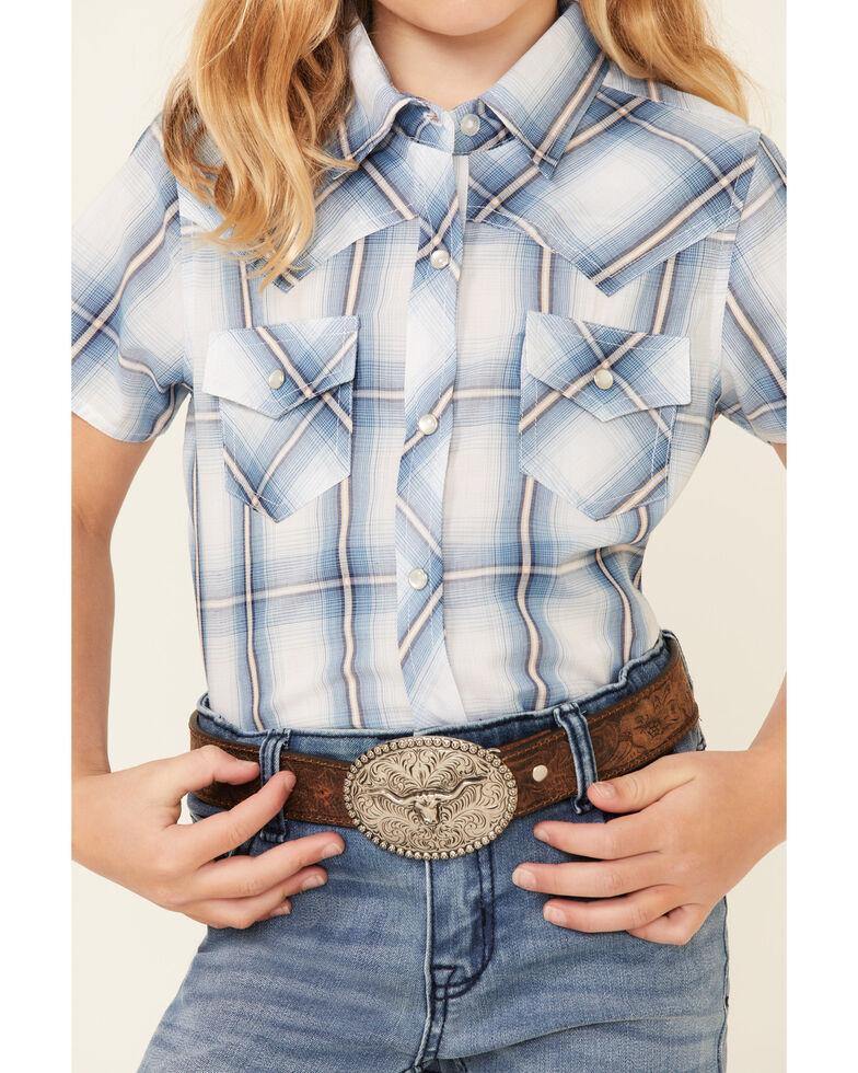 Ely Walker Girls' Blue Plaid Short Sleeve Snap Western Shirt , Blue, hi-res