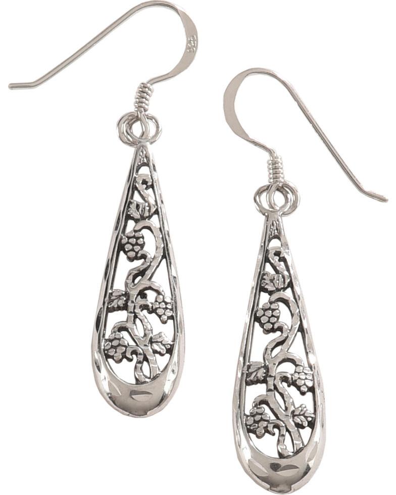 Silver Legends Women's Filigree Flower Dangle Earrings , Silver, hi-res