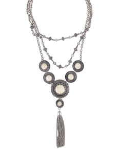 Shyanne Women's Concho Layered Tassel Necklace, Silver, hi-res