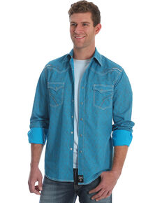 Rock 47 by Wrangler Men's Teal Print Western Shirt , Teal, hi-res