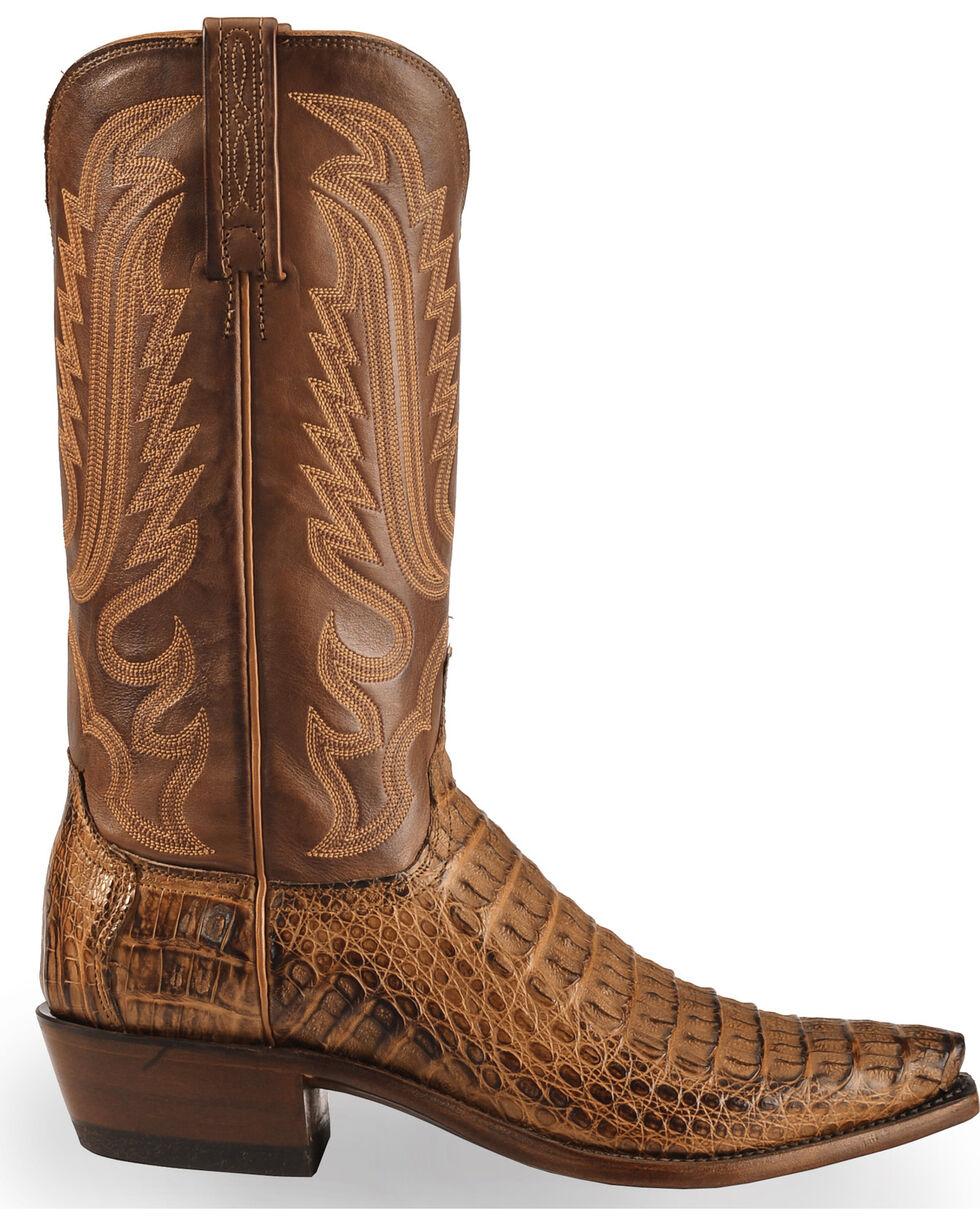 Lucchese Men's Handmade Walter Hornback Caiman Western Boots - Snip Toe , Tan, hi-res
