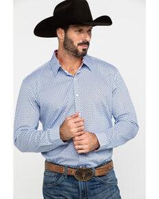 Scully Signature Soft Series Men's X Geo Print Long Sleeve Western Shirt , Blue, hi-res