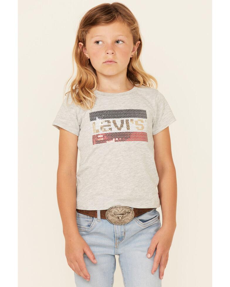 Levi's Girls Heather Grey Logo Love Sequin Short Sleeve Tee , Grey, hi-res