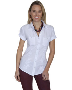 Cantina by Scully Women's White Embroidered Short Sleeve Shirt, White, hi-res