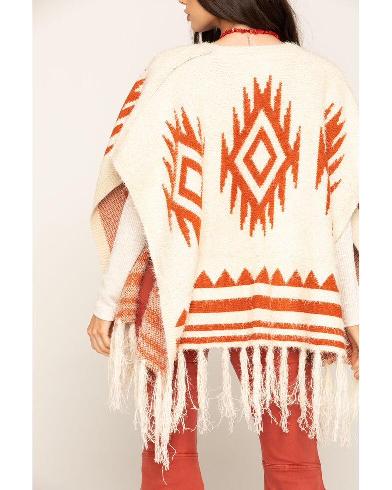 San Diego Hat Co. Women's Open Front Aztec Poncho, Rust Copper, hi-res