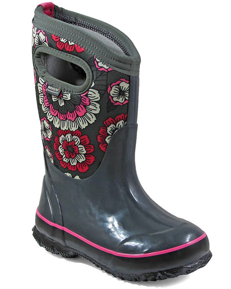Bogs Girls' Classic Pansies Waterproof Boots - Round Toe, Grey, hi-res