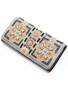 Montana West Women's Embroidered Floral Wallet, Black, hi-res
