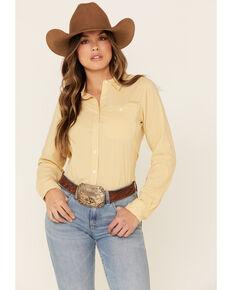 Ariat Women's Local Honey Check Plaid TEK Stretch Long Sleeve Western Core Shirt, Dark Yellow, hi-res