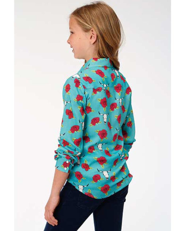 Five Star Girls' Rose & Longhorn Skull Snap Long Sleeve Western Shirt, Turquoise, hi-res