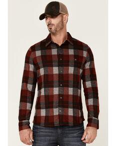 Flag & Anthem Men's Berks Plaid Textured Knit Long Sleeve Button-Down Western Shirt , Red, hi-res