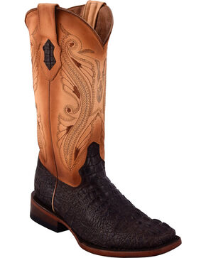 Ferrini Women's Caiman Print Cowgirl Boots - Square Toe, Dark Grey, hi-res