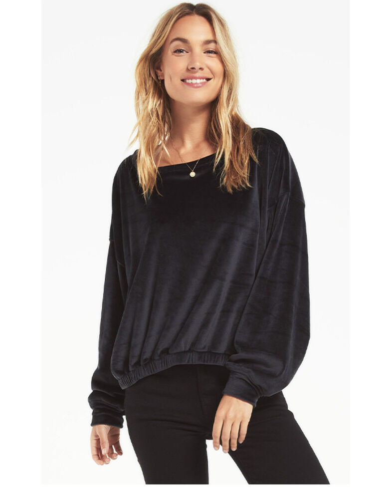 Z-Supply Women's Ivory Bodhi Velour Sweatshirt , Black, hi-res