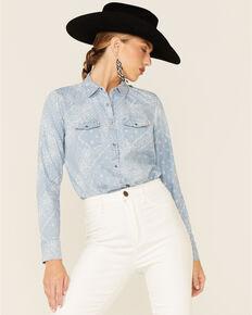 Cotton & Rye Women's Chambray Bandana Print Long Sleeve Snap Western Shirt , Light Blue, hi-res