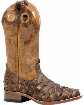 Boulet Men's Seal Brown Pirarucu Fish Cowboy Boots - Square Toe, Brown, hi-res