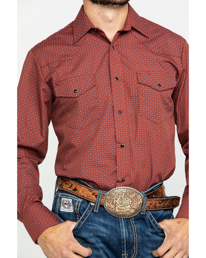 Roper Men's Classic Rust Tear Drop Mini Print Long Sleeve Western Shirt , Rust Copper, hi-res