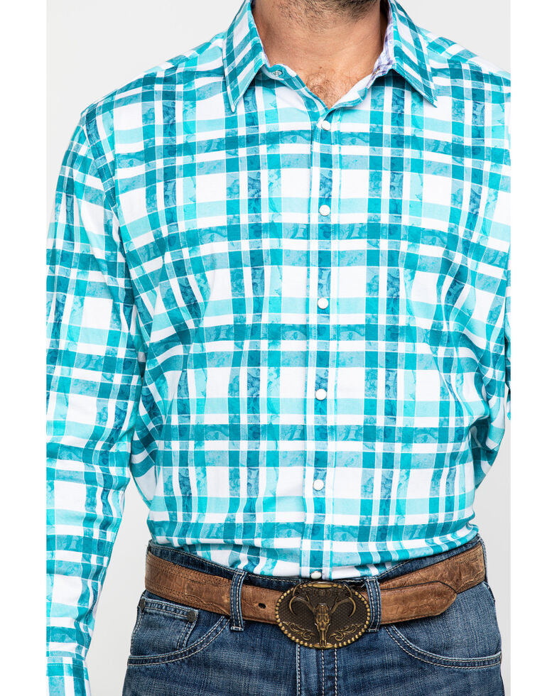 Scully Signature Soft Series Men's Green Large Plaid Long Sleeve Western Shirt , Green, hi-res