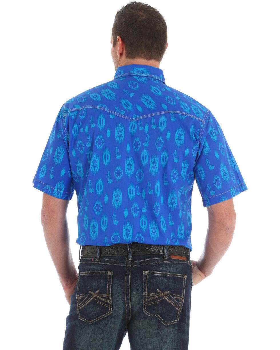 Wrangler 20X Men's Competition Blue Aztec Advanced Comfort Short Sleeve Shirt , Blue, hi-res