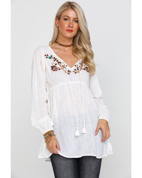 Shyanne Women's Ivory Sequin & Beaded Peasant Top, Ivory, hi-res