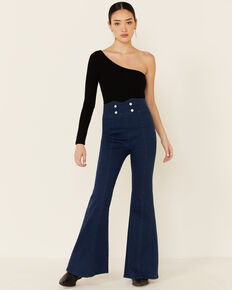 Flying Tomato Women's Bright Blue Super High-Rise Flare Jeans, Blue, hi-res