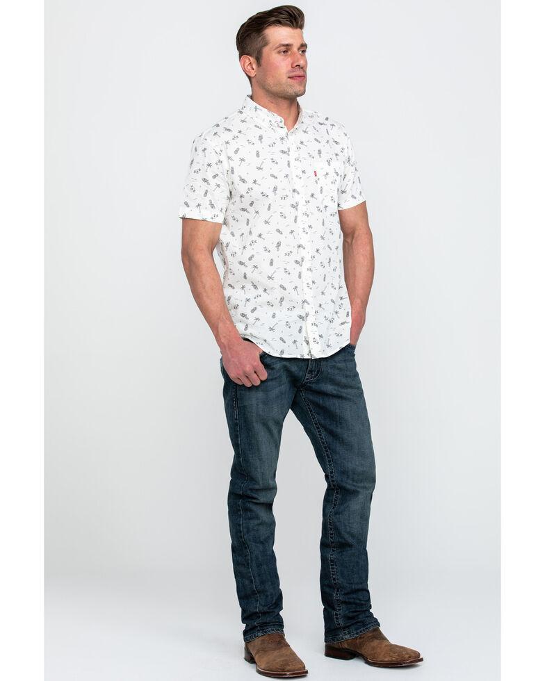 Levis Men's Gannett Small Print Short Sleeve Western Shirt , White, hi-res