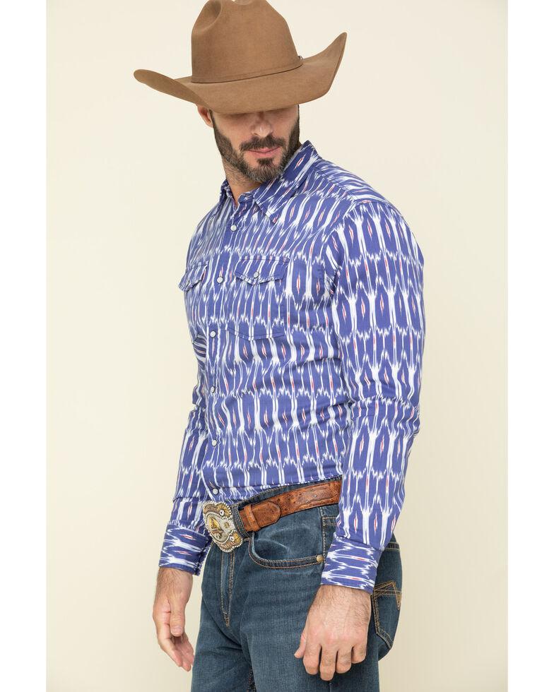 Rock & Roll Denim Men's Blue Ikat Aztec Print Long Sleeve Western Shirt , Blue, hi-res