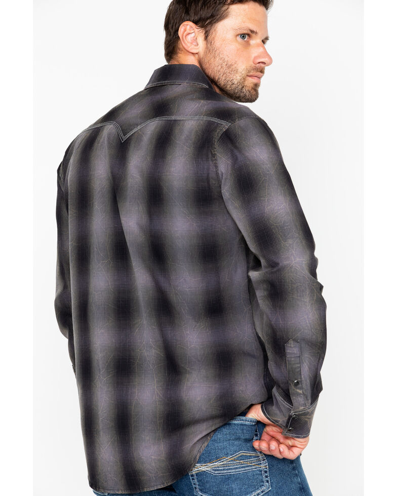 Rock & Roll Cowboy Large Ombre Plaid Long Sleeve Western Shirt , Charcoal, hi-res