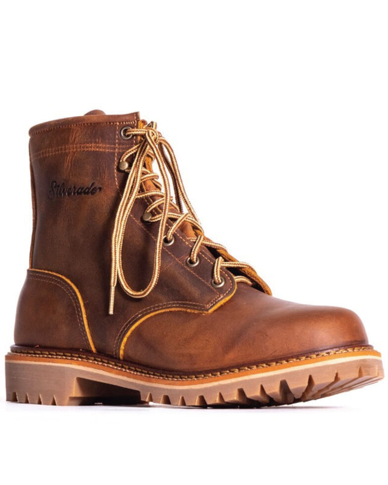 Silverado Men's Tan Lace-Up Work Boots - Steel Toe, Tan, hi-res