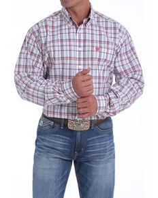 Cinch Men's Large White Plaid Long Sleeve Western Shirt , White, hi-res