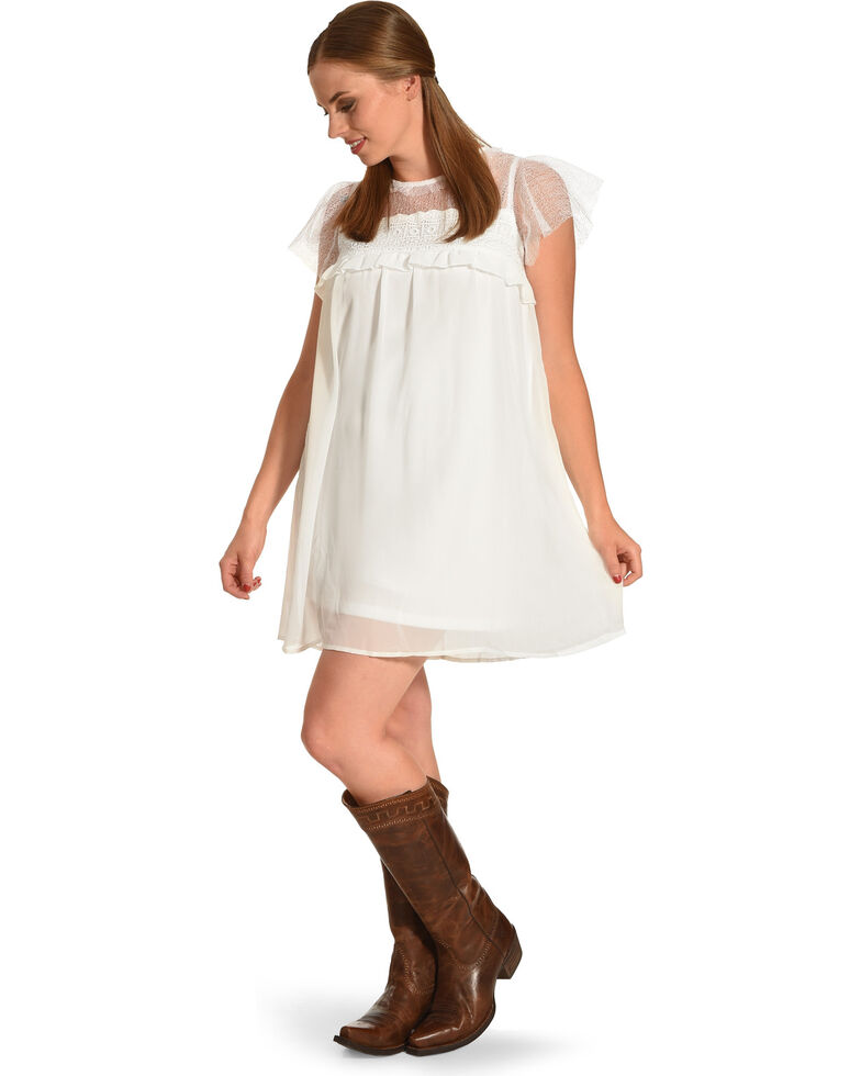 b5d53f2faab15f Zoomed Image Polagram Women's White Lace Ruffle Sleeve Dress, White, hi-res