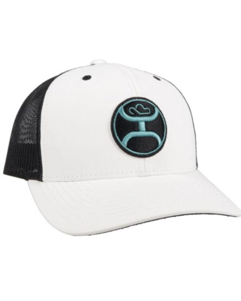 HOOey Men's Primo Logo Circle Patch Soft Mesh Back Trucker Cap , White, hi-res