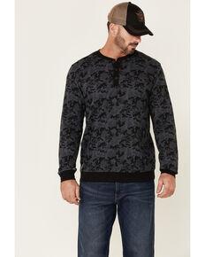 Moonshine Spirit Men's Alpha Bravo Camo Print Long Sleeve Henley T-Shirt, Black, hi-res