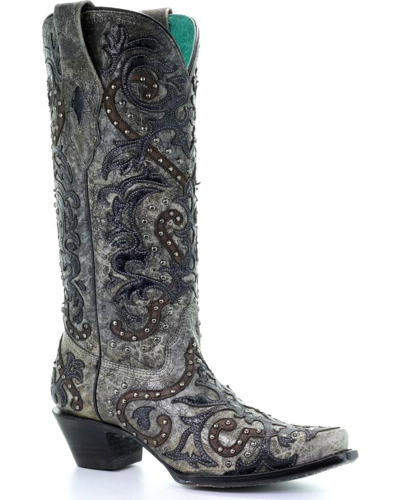 Corral Women's Black Studded Overlay Boots - Snip Toe , Black, hi-res
