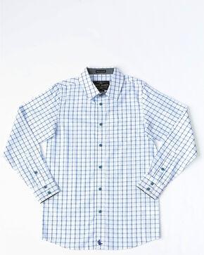 Cody James Boys' Grove Small Plaid Long Sleeve Western Shirt , White, hi-res
