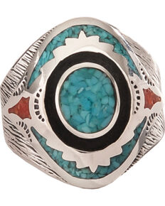 Silver Legends Women's Turquoise and Coral Southwestern Ring , Turquoise, hi-res