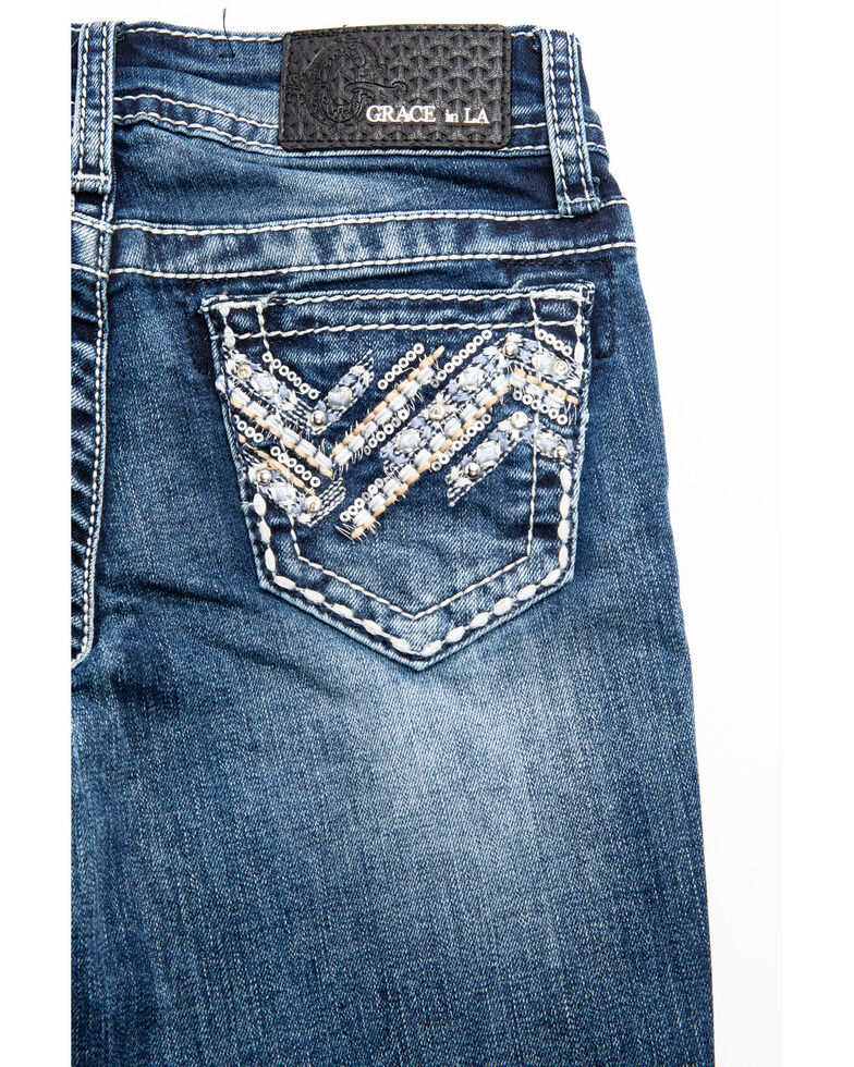 Grace in LA Girls' Scattered Aztec Bootcut Jeans, , hi-res