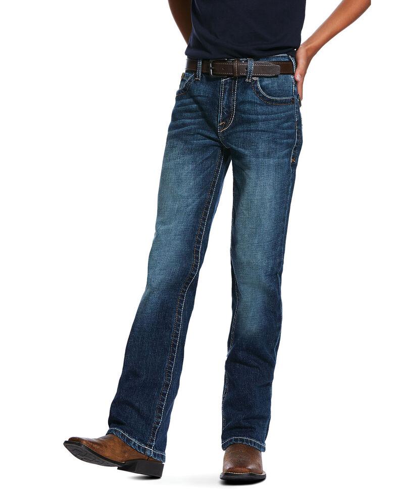Ariat Boys' B5 Eagle Dark Stretch Slim Straight Jeans , Blue, hi-res