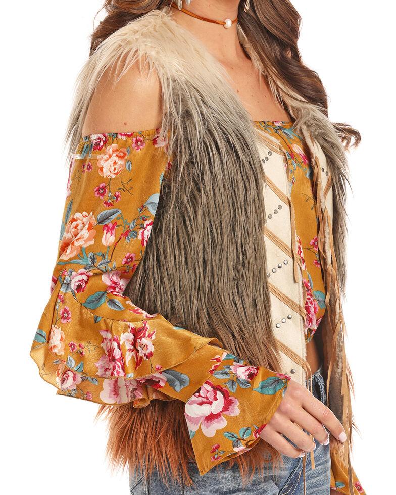 Powder River Outfitters Women's Ombre Fringe Front Fur Vest, Multi, hi-res