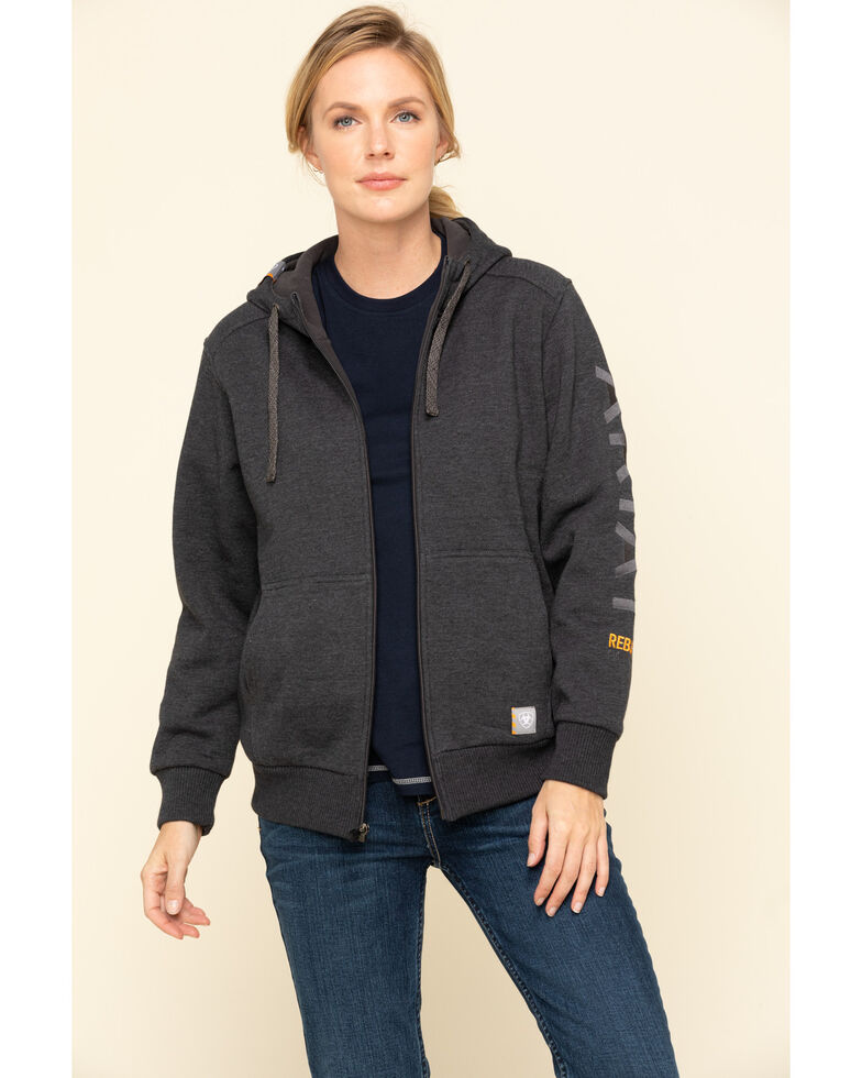 Ariat Women's Charcoal Heather Rebar All-Weather Zip Hoodie, Charcoal, hi-res