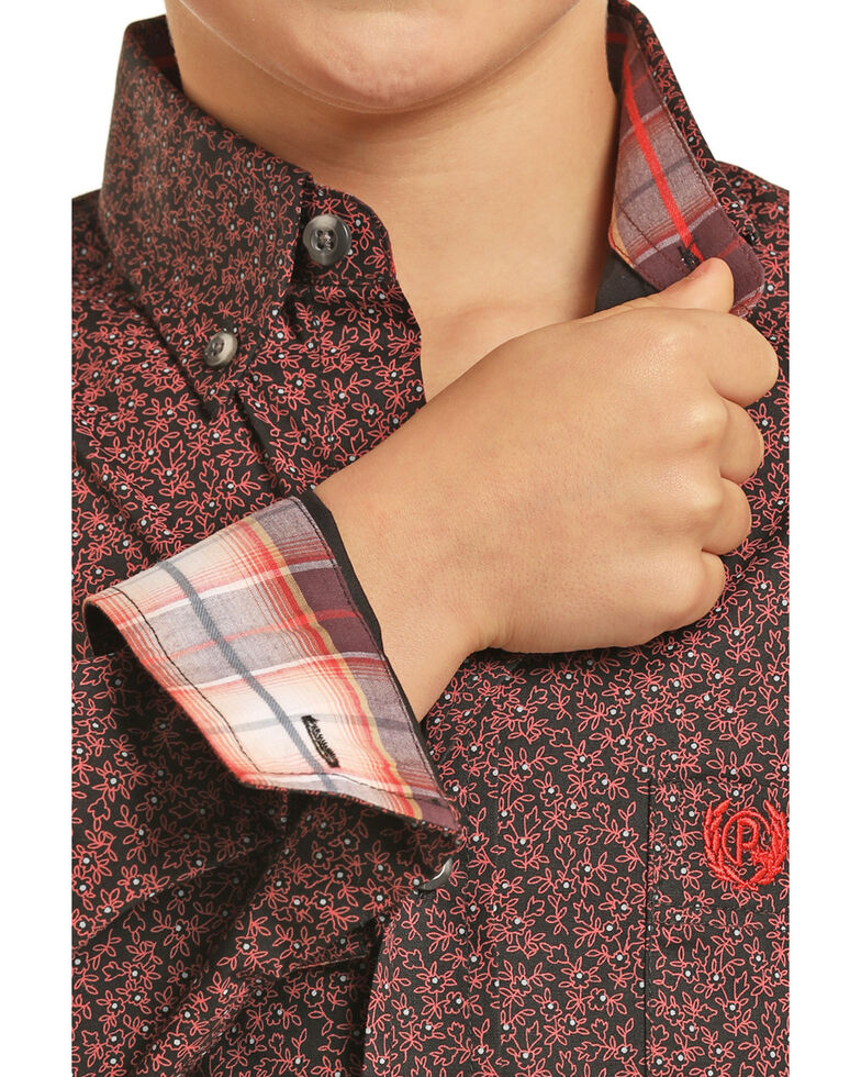 Panhandle Select Boys' Floral Brushed Poplin Print Long Sleeve Western Shirt , Red, hi-res