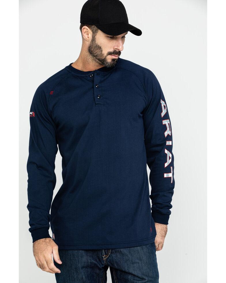 Ariat Men's FR Liberty Logo Long Sleeve Work Shirt - Tall , Navy, hi-res