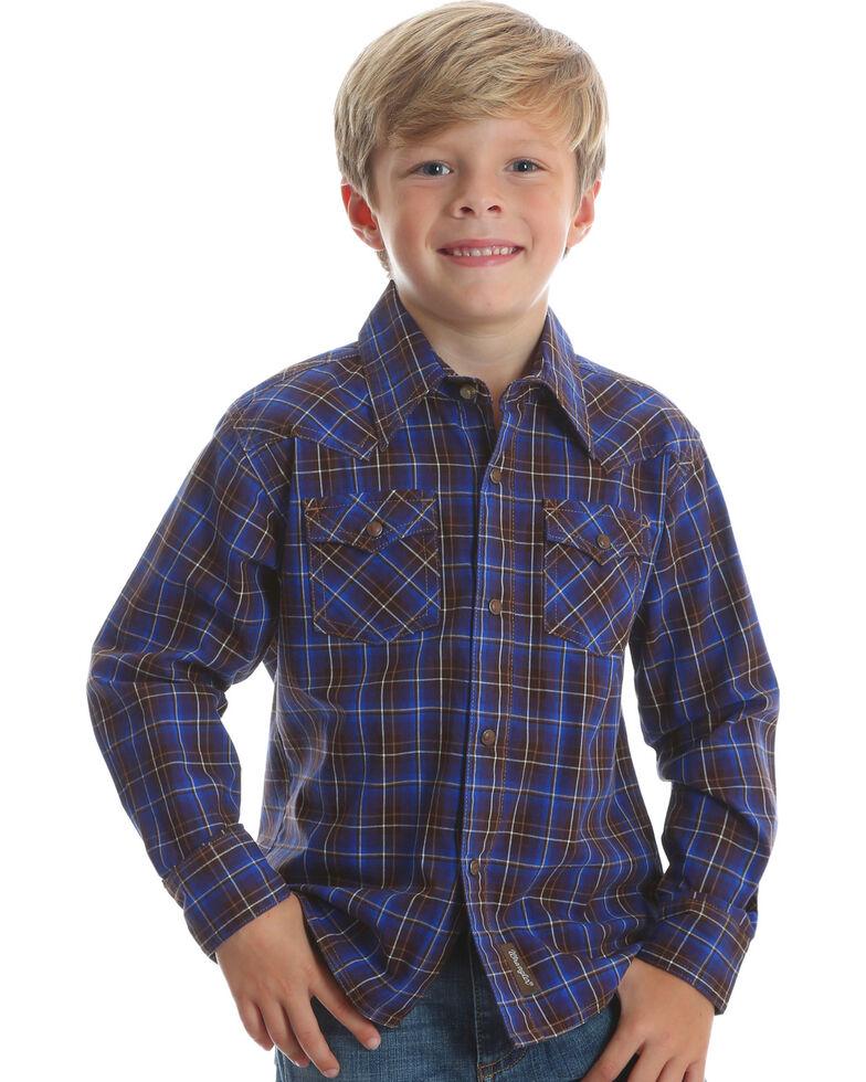 Wrangler Retro Boys' Brown Long Sleeve Plaid Shirt , Brown, hi-res