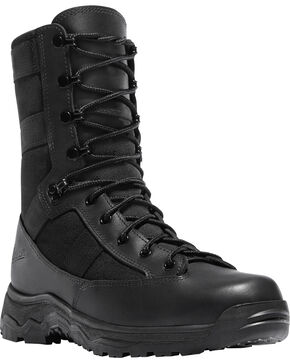 "Danner Men's Black Hot 8"" Reckoning Tactical Boots - Round Toe , Black, hi-res"