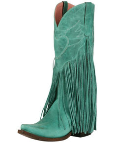 Junk Gypsy by Lane Women's Dreamer Fringe Western Boots - Snip Toe, Turquoise, hi-res