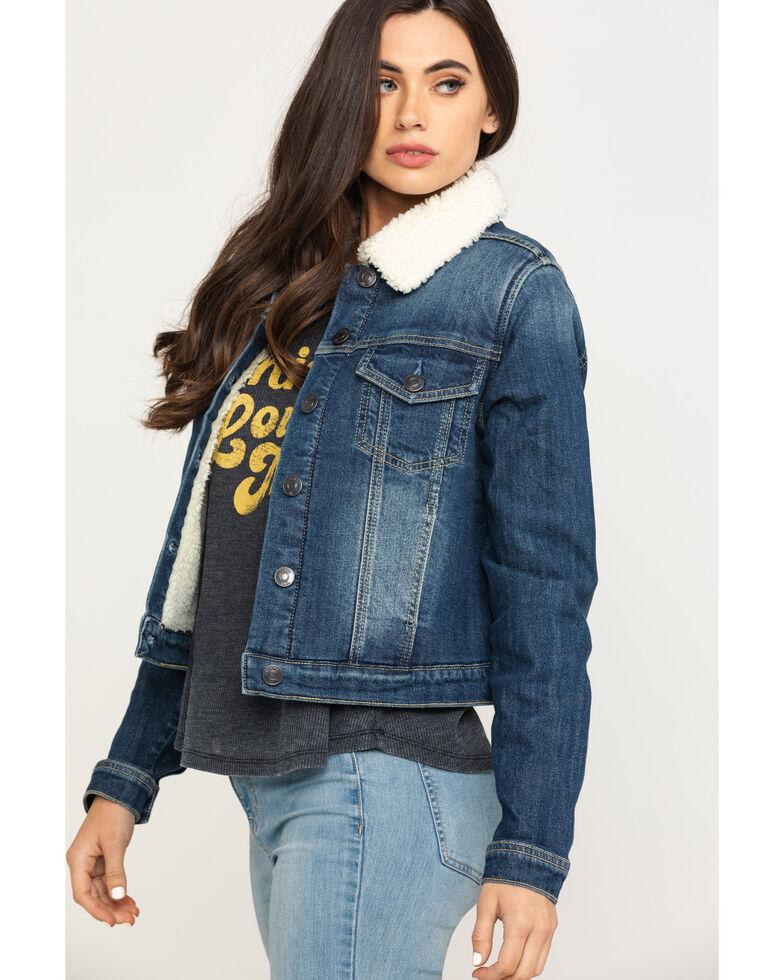 Shyanne Life Women's Medium Denim Sherpa Trucker Jacket , Blue, hi-res
