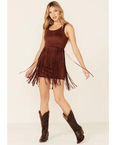Idyllwind Women's Lady Luck Faux Suede Fringe Dress, Rust Copper, hi-res