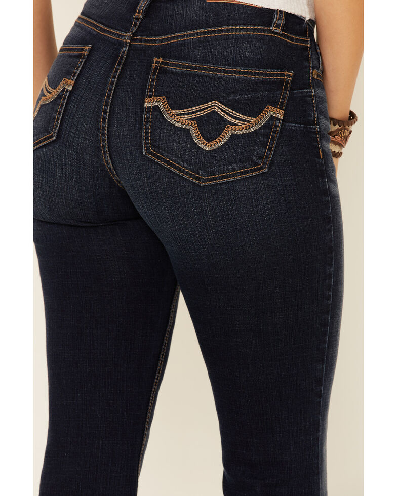 Shyanne Life Women's Mid-Rise Flare Riding Jeans, Dark Blue, hi-res